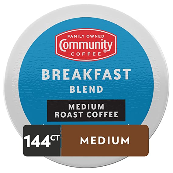 Amazon Com Community Coffee Breakfast Blend Medium Roast Single Serve K Cup Compatible Coffee Pods Box Of 36 Pods Pack Of 4 Grocery Gourmet Food