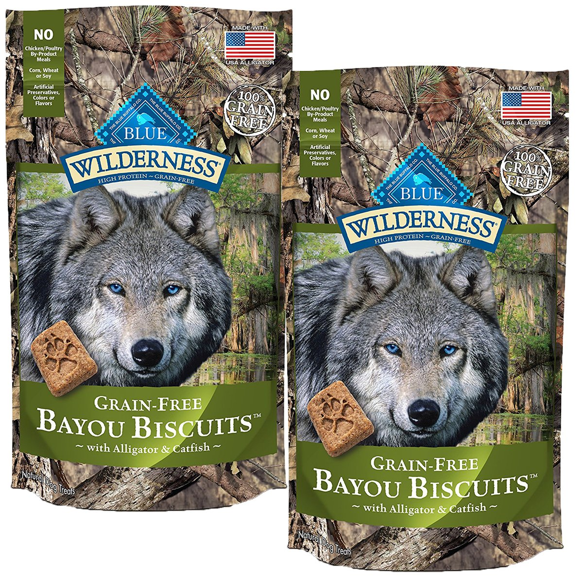 BLUE Wilderness Grain-Free Bayou Biscuits with Alligator & Catfish Dog Treats 8-oz, 2 Pack