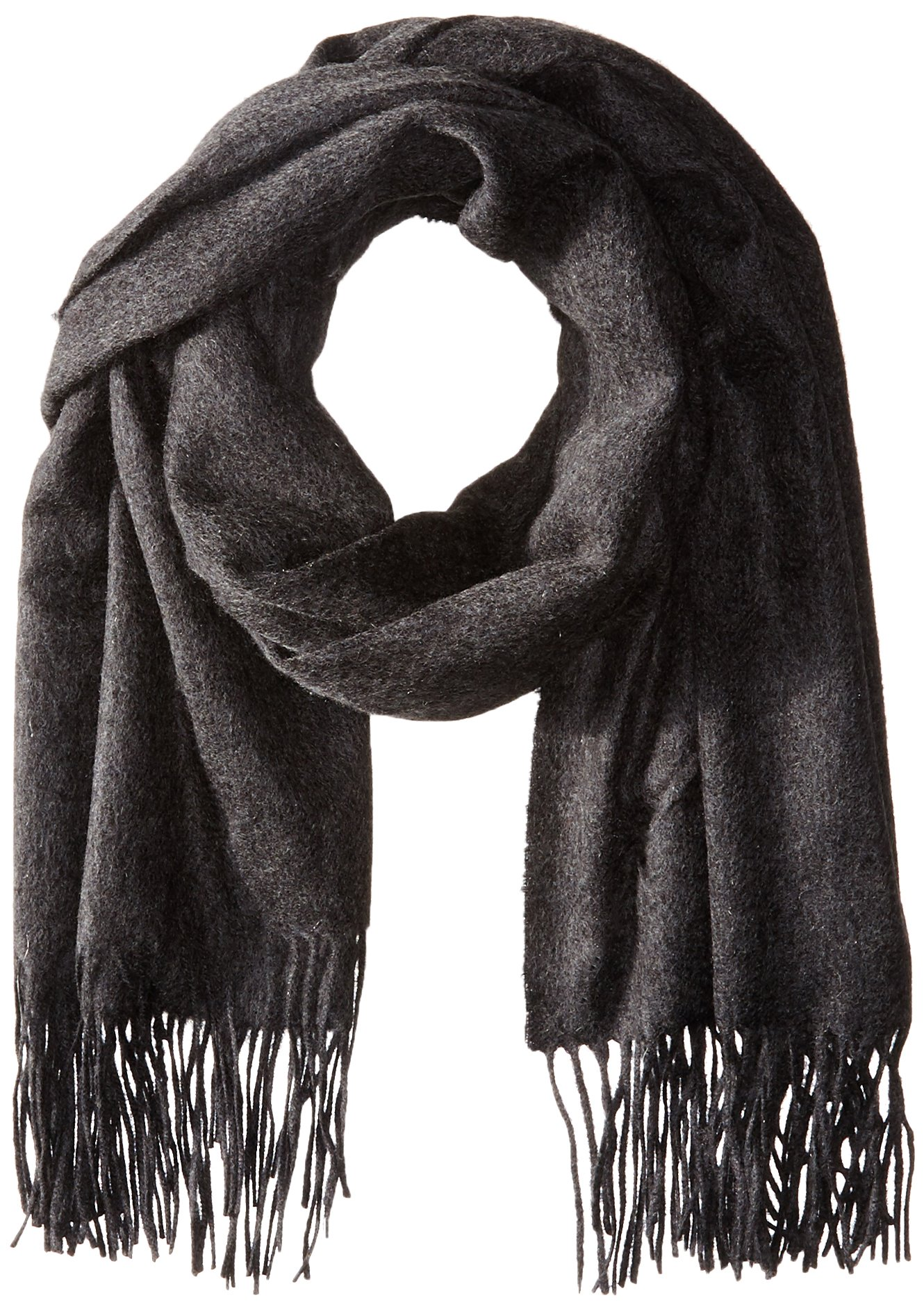 Sofia Cashmere Women's 100 Percent Cashmere Fringed Stole Scarf, Charcoal, One Size