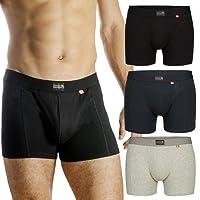 Bóxers para Hombres, pack de 1 o 3, ropa interior de algodón elástico y ultrasuave, corte clásico, calzoncillos ajustados, comodidad superior, bóxers multipack, negro, gris, azul marino
