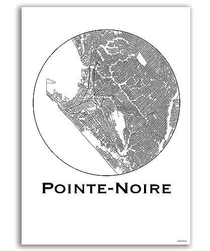 Cartel Pointe-Noire República del Congo Minimalista Mapa ...