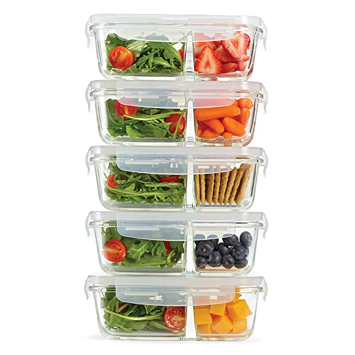 Fit & Fresh Divided Glass Containers, 5-Pack, Two Compartments, Set of 5 Containers with Locking Lids, Glass Storage, Meal Prep Containers with Airtight Seal, 27 oz.