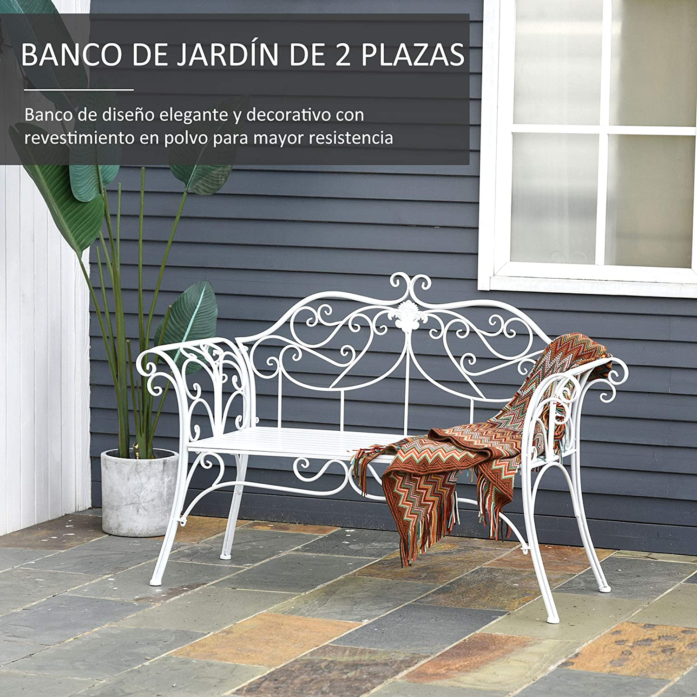 Outsunny Banco de Jard/ín con Respaldo de 2 Plazas 131x51x90 cm Asiento de Patio para Exterior Porche Parque en Hierro Fundido Carga 250 kg Color Blanco