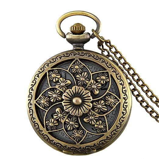 5815747a4f2b JewelryWe Reloj de Bolsillo Bronce Cuarzo