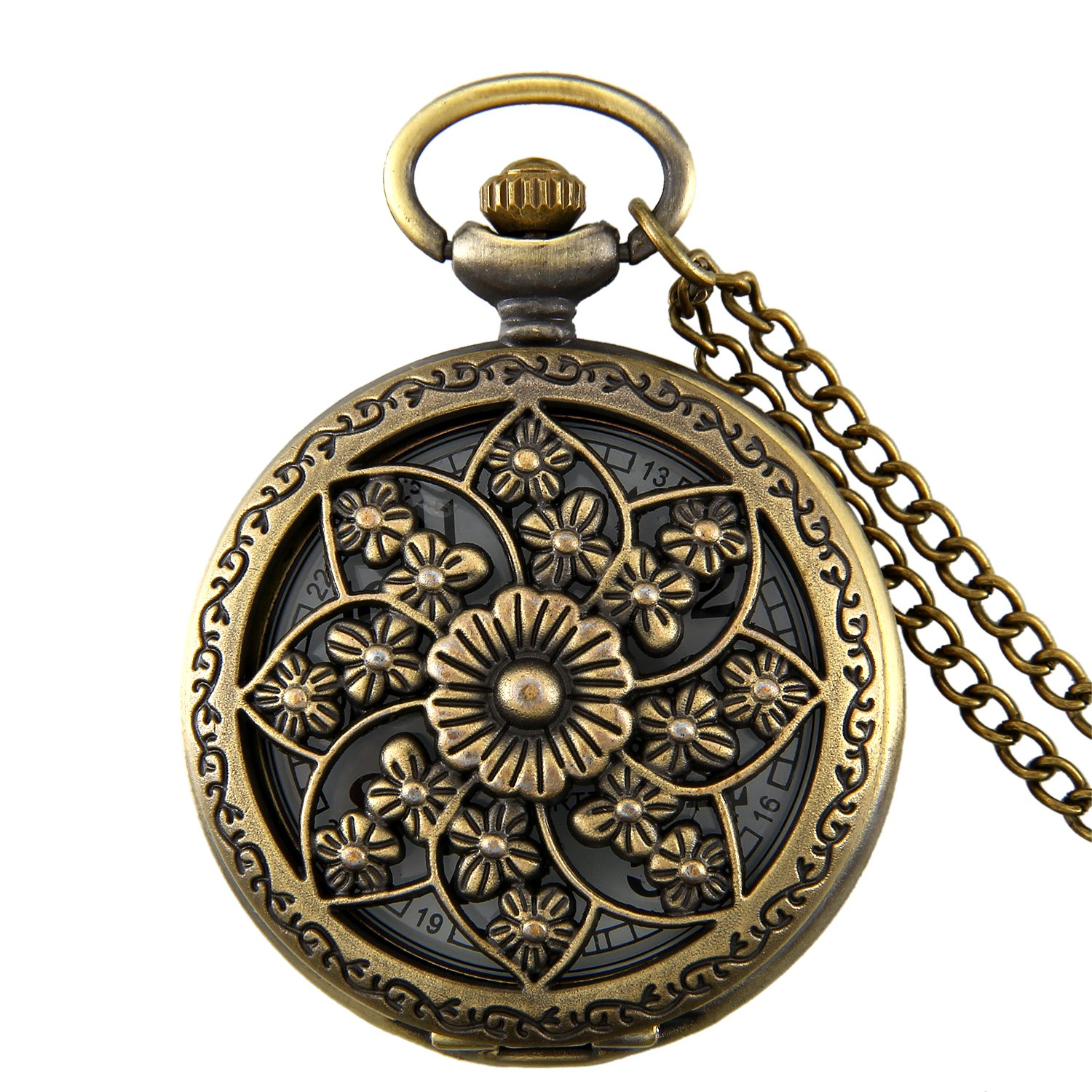 JewelryWe Retro Bronze Flower Openwork Cover Quartz Pocket Watch with 32.3 inch Chain by Jewelrywe