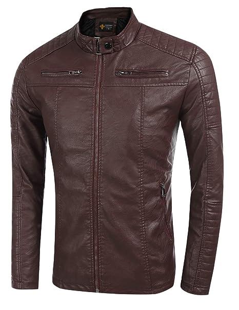 JINIDU Mens Vintage Leather Jacket Stand Collar Pu Motorcycle Jacket at Amazon Mens Clothing store: