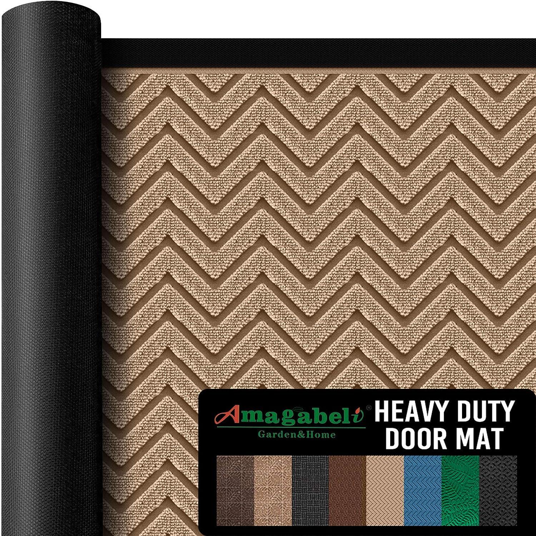 """Amagabeli Outside Shoe Mat Rubber Doormat for Front Door 18""""x 30"""" Outdoor Mats Entrance Waterproof Rugs Dirt Debris Mud Trapper Carpet for Patio Non Skid Doormats all Weather Exterior Door Mat"""