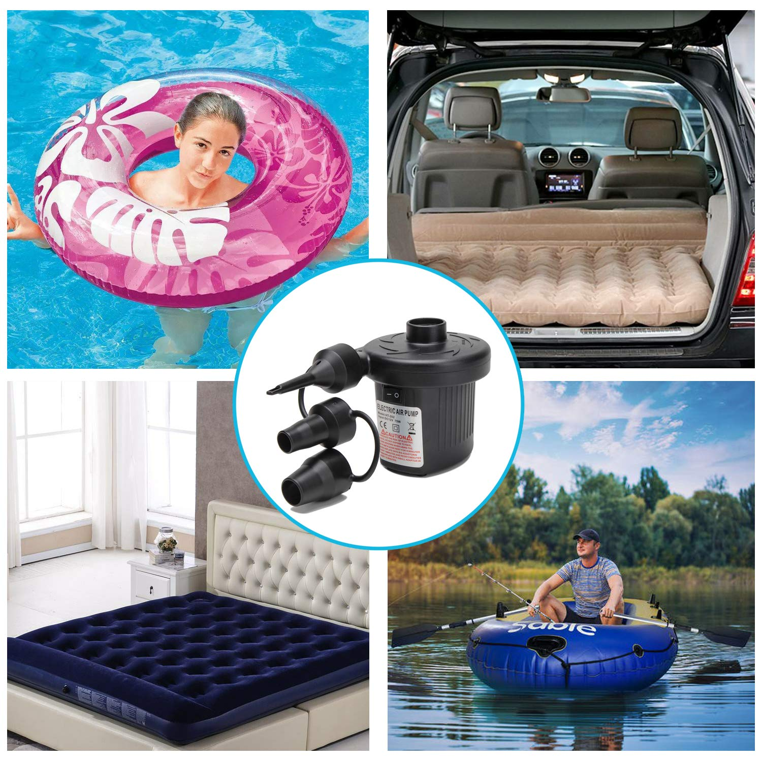 Air Boats Air Beds 110V AC//12V DC Deflates and Inflates for Swimming Ring Inflatable Furniture Outdoor Camping Portable Quick-Fill Air Pump with 3 Nozzles Moonet Electric Air Pump
