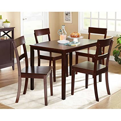 Beverly 5 Piece Dining Set, Multiple Finishes (Espresso)