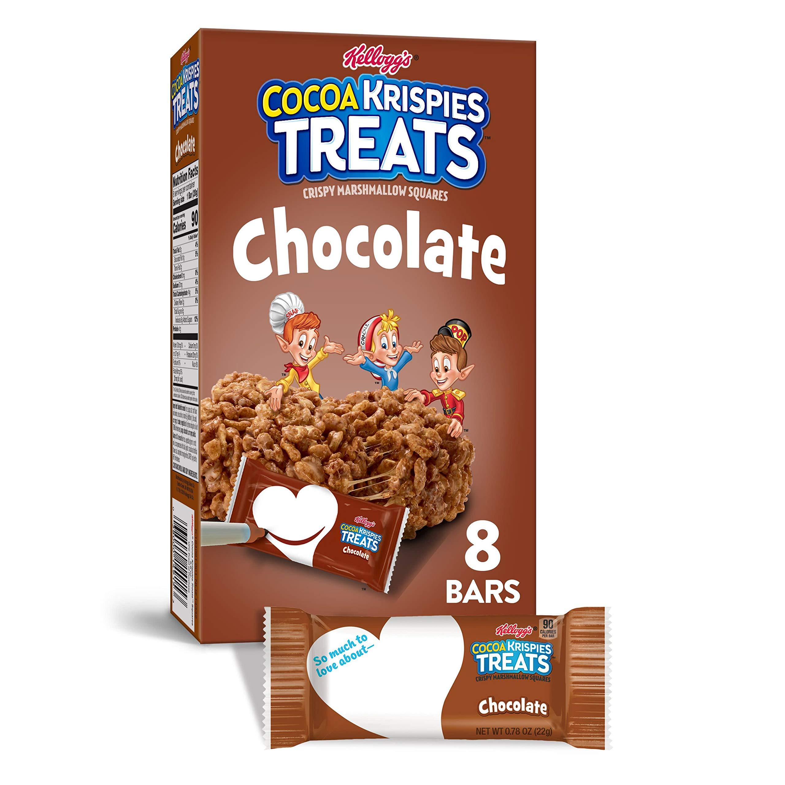 Kellogg's Cocoa Krispies Treats, Crispy Marshmallow Squares, Chocolate, 5.6oz Box (8 Count)