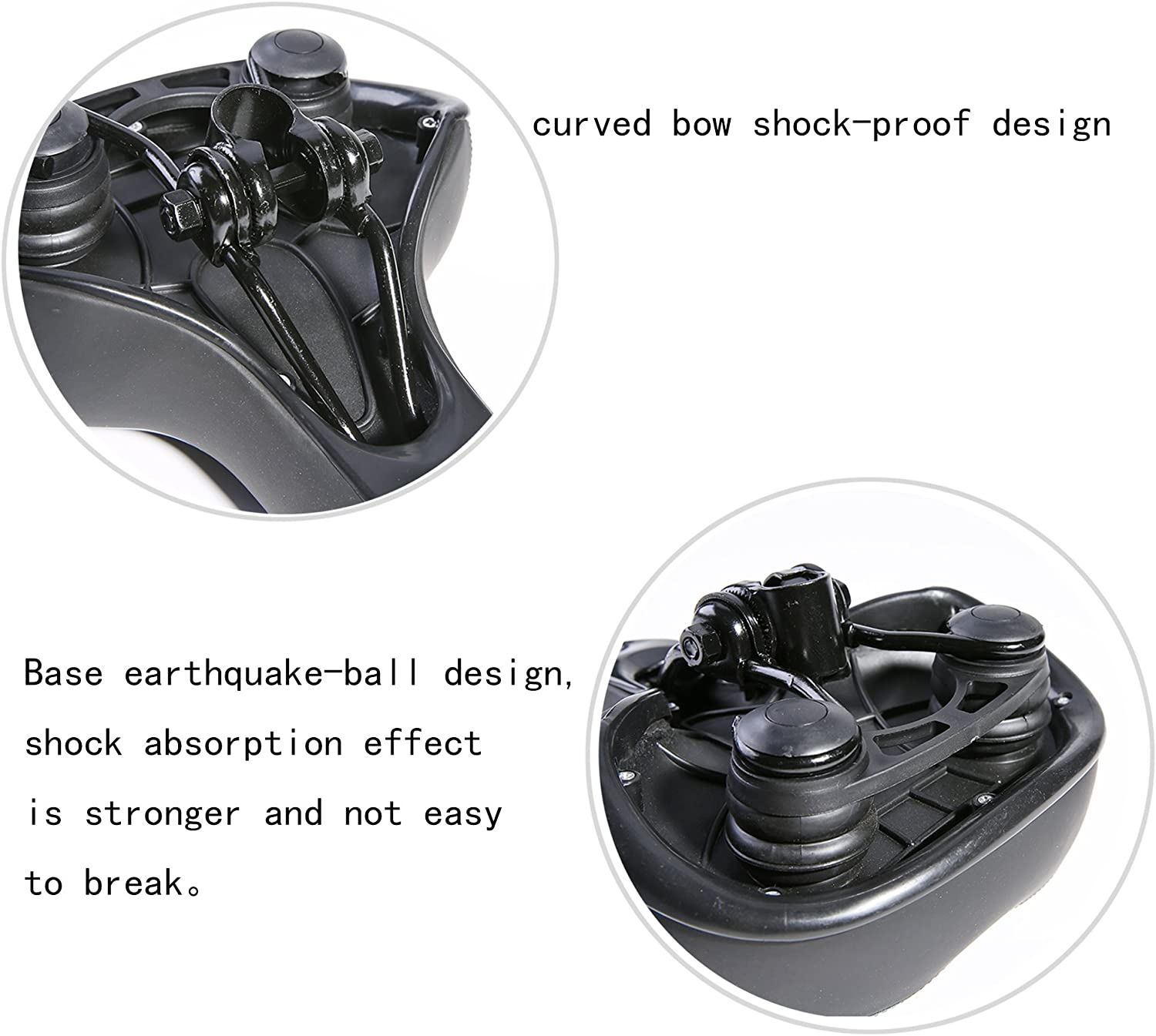 UNISTRENGH Bike Saddle Exclusive Shock Absorber Ball Base Big Bum Extra Wide Leather Bicycle Seat Soft Comfy Gel Padded Cushion with Reflective Tape