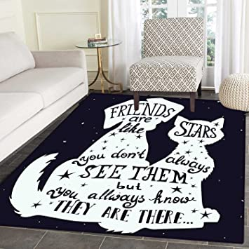 Amazon Com Dog Area Silky Smooth Rugs Friends Are Like Stars Quote