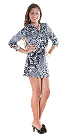 29463f07aaae 1 World Sarongs Womens Animal Print Black/White Tunic Cover-Up in Small