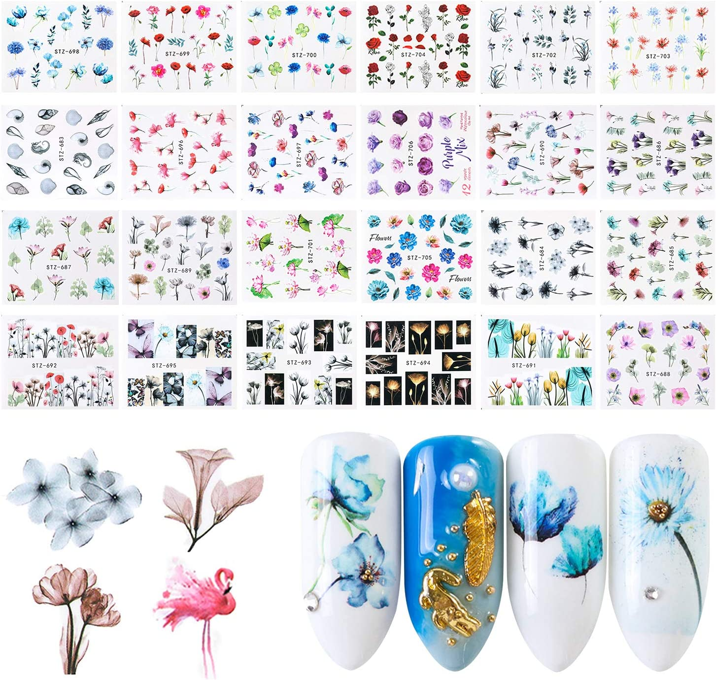 Nail Art Stickers, FunPa 24 Sheets Nail Stickers Floral Pattern Water Transfer DIY Nail Decals Self-Adhesive Stickers for Women Girls Nail Art Accessories Decals Manicure DIY or Nail Salon: Arts, Crafts & Sewing