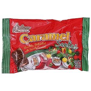 Palmer (1) Bag Caramel Santas - Chocolaty Shell Filled With Smooth Caramel - Individually Wrapped Holiday Candy - Net Wt. 4.5 oz