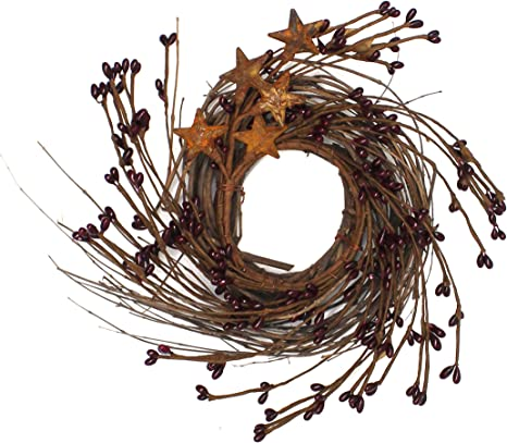 Twig vine pip berry wreath rustic primitive rust metal barn star decor wood sign