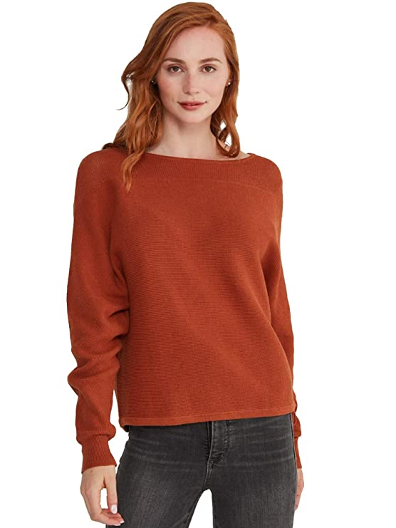 State Cashmere Oversized Sweater Bat Sleeves Side Tie Mesh Detailing Cotton Pullover