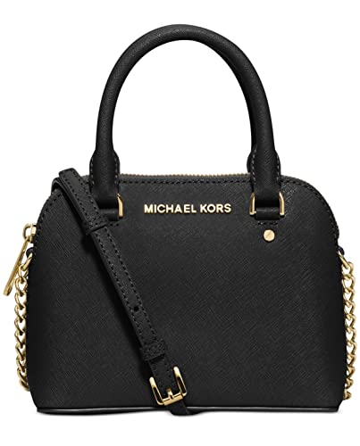 10e5745dd920 MICHAEL Michael Kors Womens Cindy Leather Satchel Handbag Black Small:  Handbags: Amazon.com