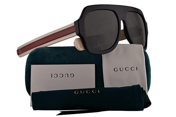 Amazon.com: Gucci GG0255S Sunglasses Black Ivory w/Grey Lens ...