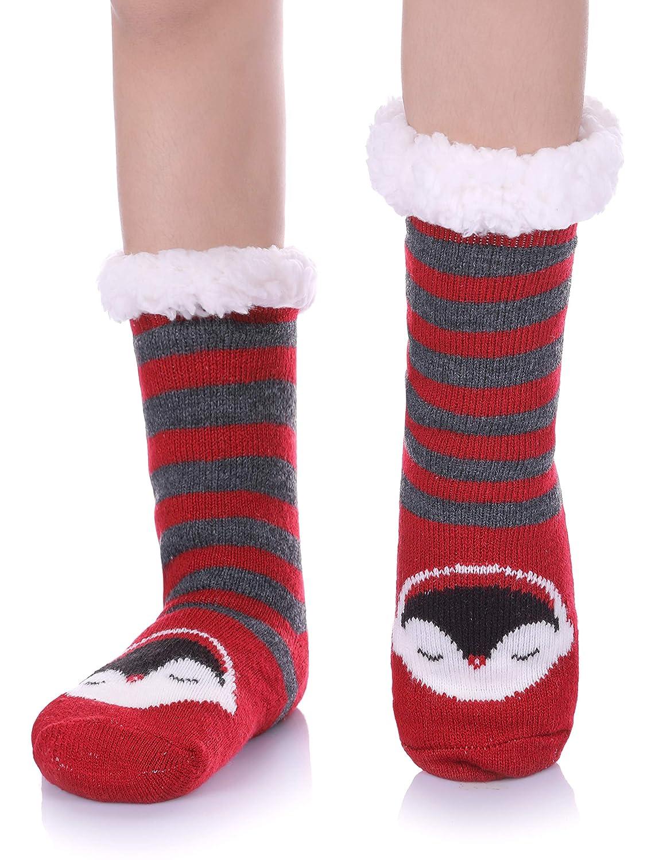 NOVCO Boys Girls Slipper Socks Fuzzy Soft Warm Fleece lined Kids Toddler Winter Socks for Christmas