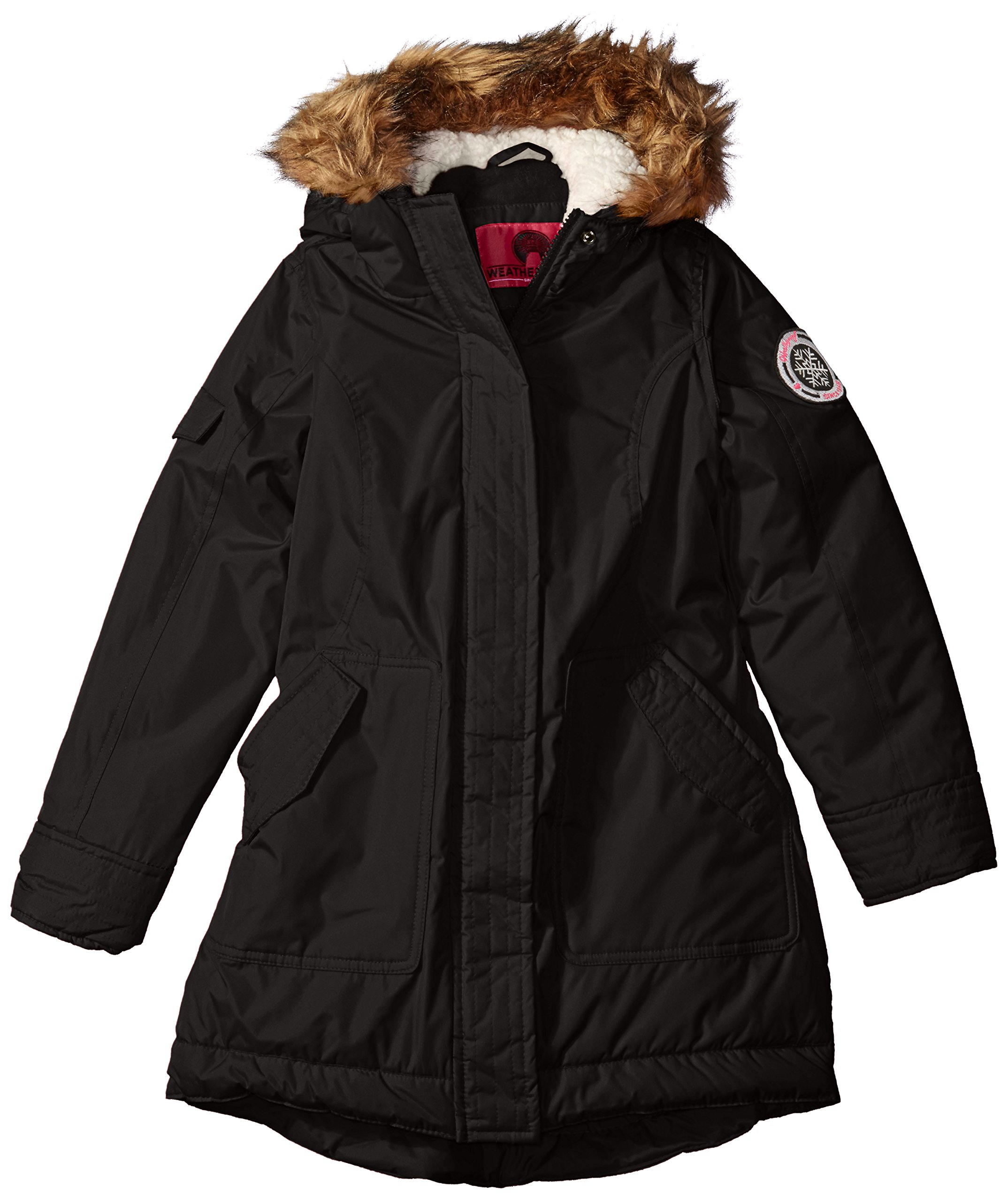 Weatherproof Big Girls' Fashion Outerwear Jacket (More Styles Available), Black D, 7/8