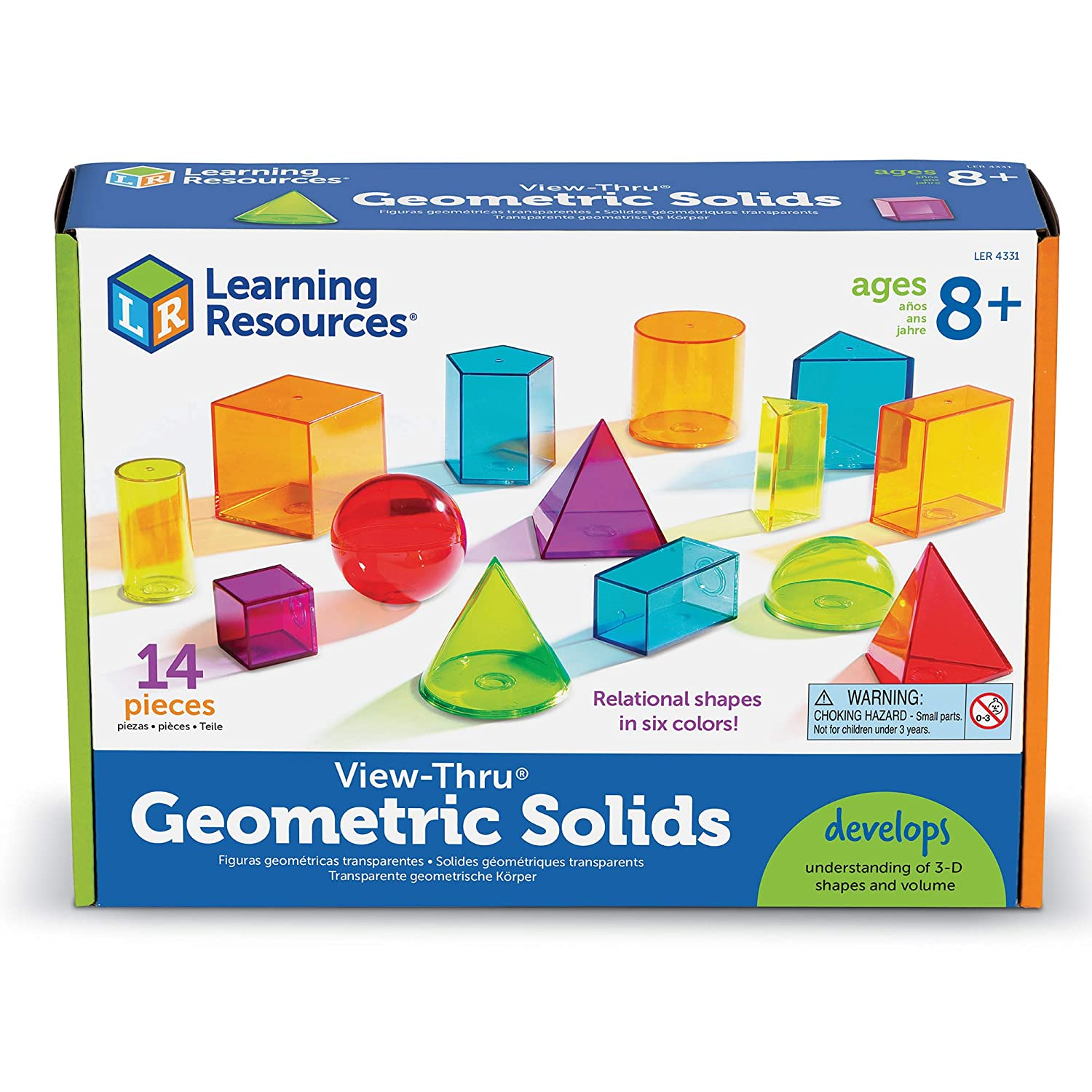 14 Pieces Learning Resources View-Thru Geometric Solids