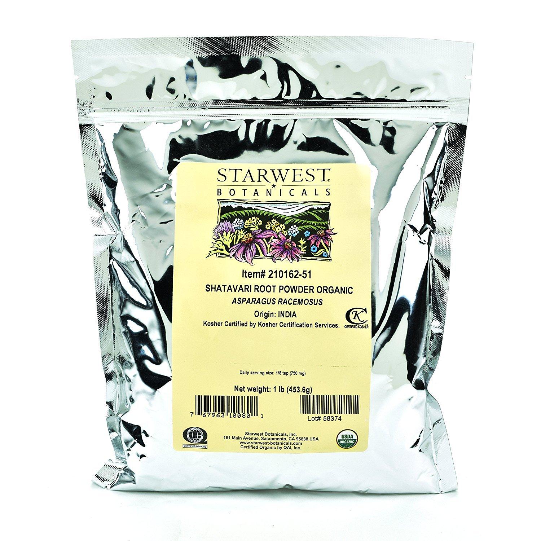 Starwest Botanicals Organic Shatavari Root Powder, 1 Pound
