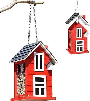 Vogelhaus Vogelhäuschen Vogelfutterhaus Futterhaus Vogelfutter Haus ROT#42