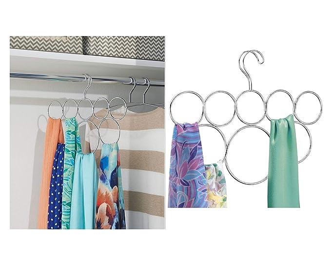 iDesign Perchas ahorra espacio, organizador de pañuelos antiarrugas de metal, colgador de accesorios con 8 anillos para chales, corbatas o cinturones, ...