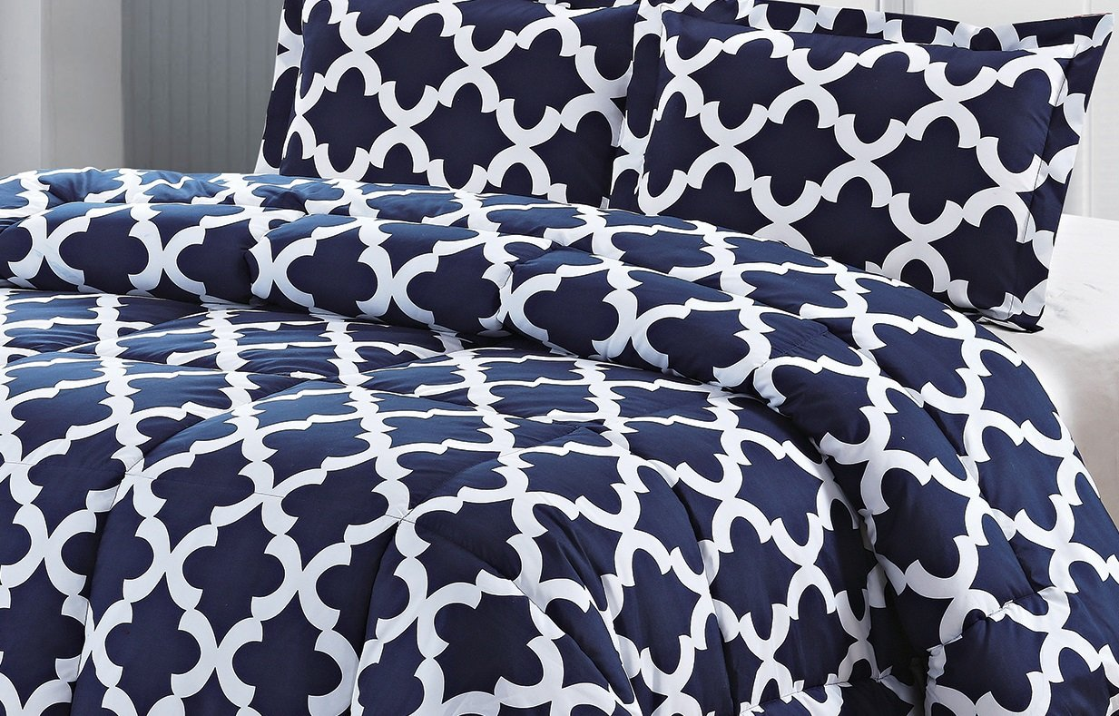 Printed Comforter Set (Navy, Queen) with 2 Pillow Shams - Luxurious Soft Brushed Microfiber