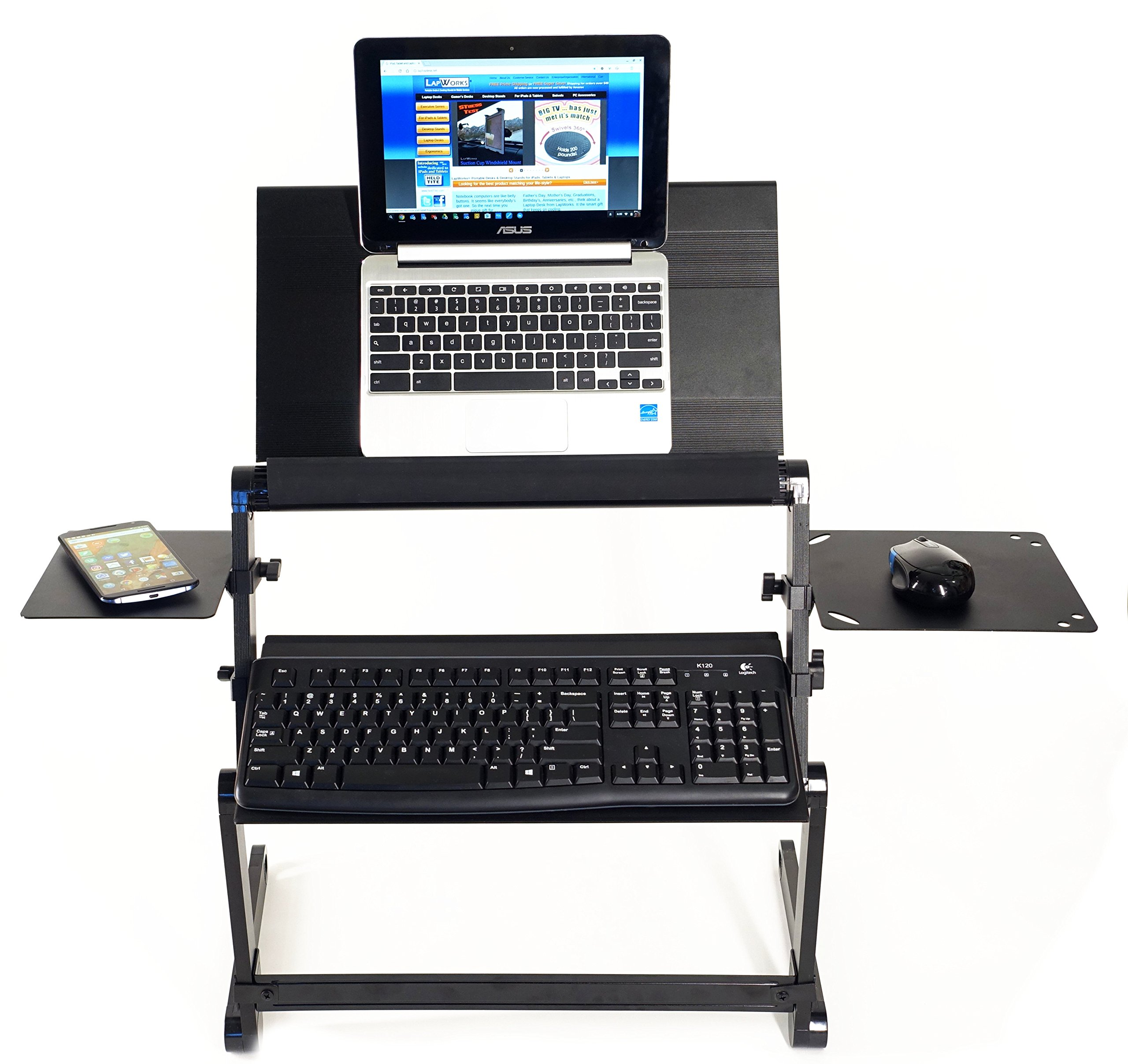 LapWorks Wizard Standing Desk for your Desktop or Table with Keyboard Tray, Stabilizer Bar, Max Mouse Pad, Regular Mouse Pad and more - Super Strong but LIghtweight Aluminum Design by LapWorks
