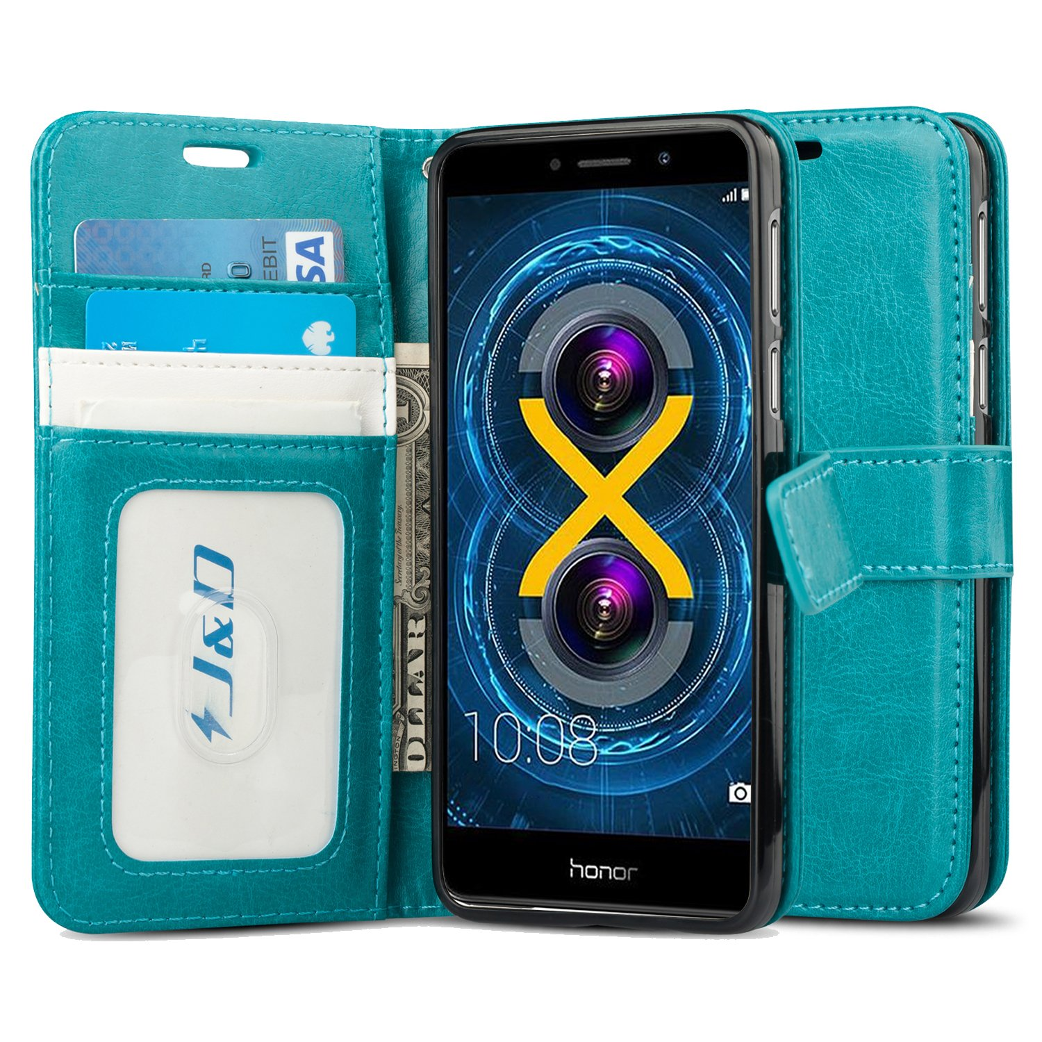 Honor 5X Wallet Case Leather COTDINFORCA Premium PU Embossed Design Magnetic Closure Protective Cover with Card Slots for Huawei Honor 5X 5.5 inch Luck Clover Blue