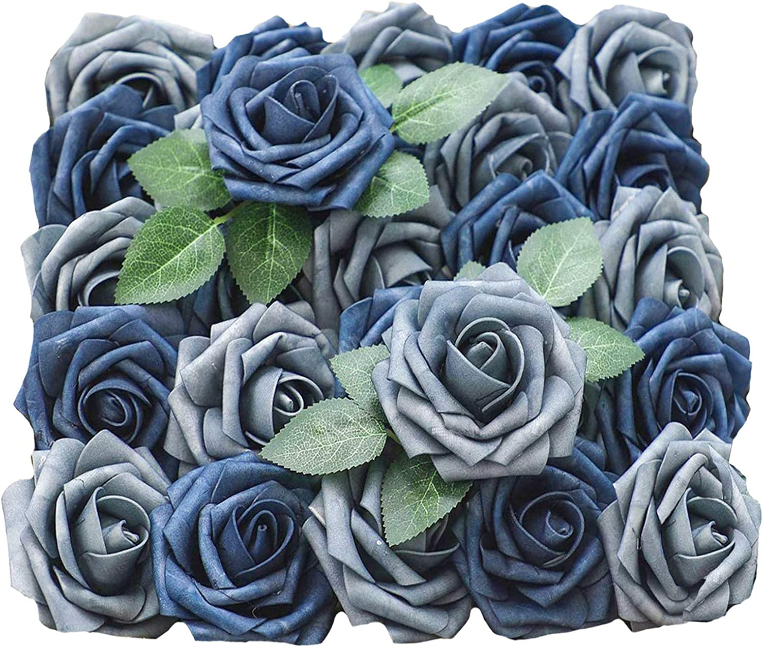 Lmeison Artificial Flowers Dusty Blue Shades Rose, 50pcs Real Looking Fake Roses w/Stem with 4 Leaves for Bridal Wedding Bouquets Centerpieces Baby Shower DIY Party Home Decor