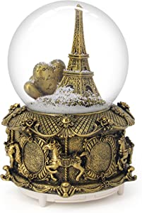 QTMY Musical Snow Globes Ornament Love You Eiffel Tower Music Boxes with Led Light Gift for Kids Girls