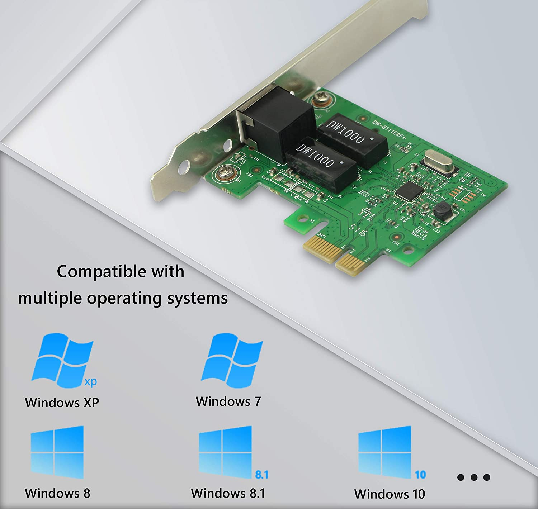 CERRXIAN RT8111F PCIe1x 1000M LAN Card,Gigabit Ethernet PCI Express PCI-E Network Card RJ45 LAN Adapter Converter for Desktop PC 1000Mbit//s Adaptador y Tarjeta de Red