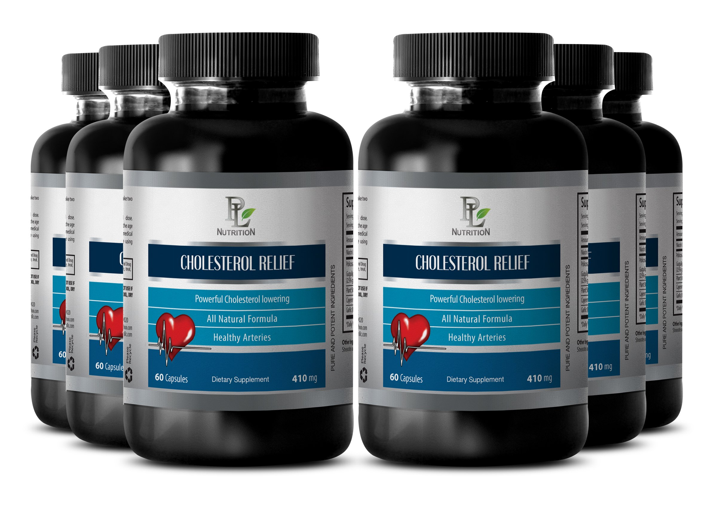 Cholesterol lowering - CHOLESTEROL RELIEF - Improve blood circulation supplement - 6 Bottles 360 Capsules