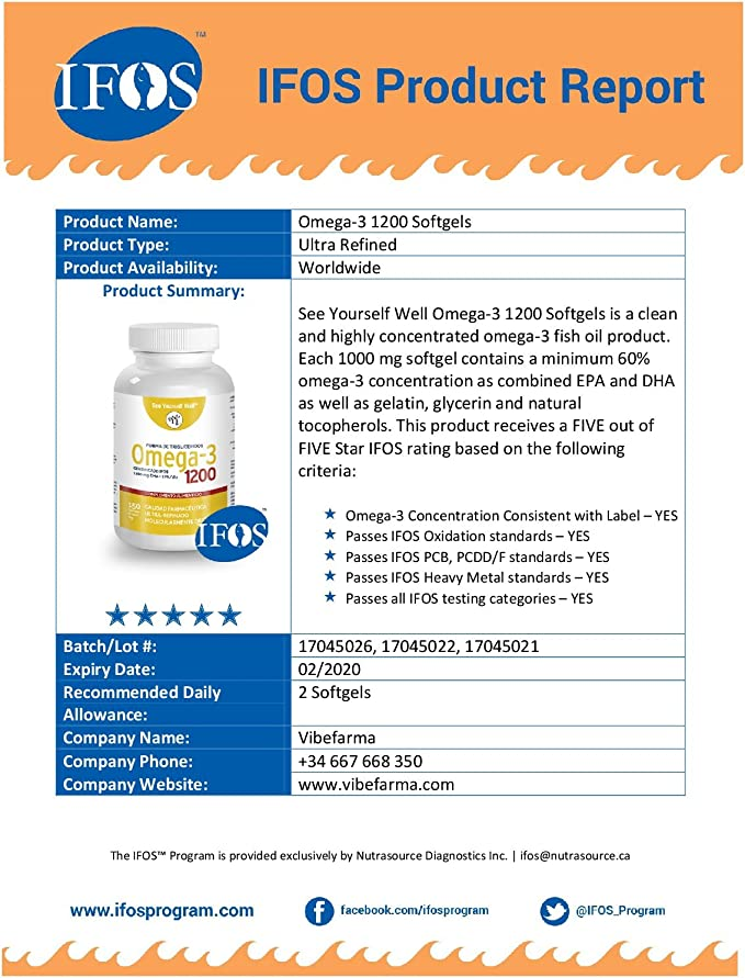 Omega 3 SYW. (150 cápsulas de 1000 mg) Certificado IFOS. Forma Triglicérido. Altamente concentrado: 400 mg de EPA y 200 mg de DHA. De grado ...