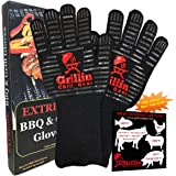 "BBQ Grilling Gloves by Grill Chill Gear - 932°F Extreme Heat Resistant Oven Mitts For Cooking, Baking, Frying, Barbecue – XXL – Wider and Longer (15"") - Best Protection - FREE Meat Smoking Temperature"