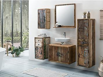 Badmöbel Rustikal woodkings bad set kalkutta 5teilig hängend recyceltes holz rustikal