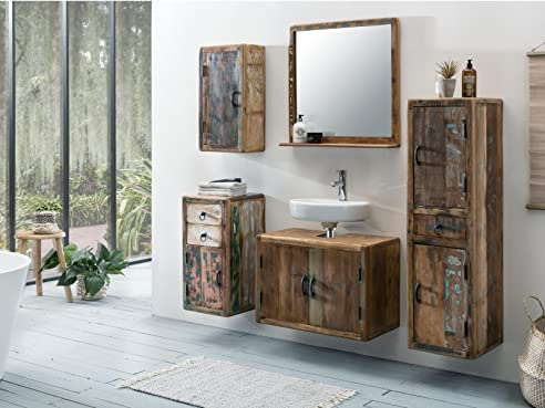 Woodkings® Bad Set Kalkutta 5teilig hängend recyceltes Holz ... | {Badmöbel hängend 42}