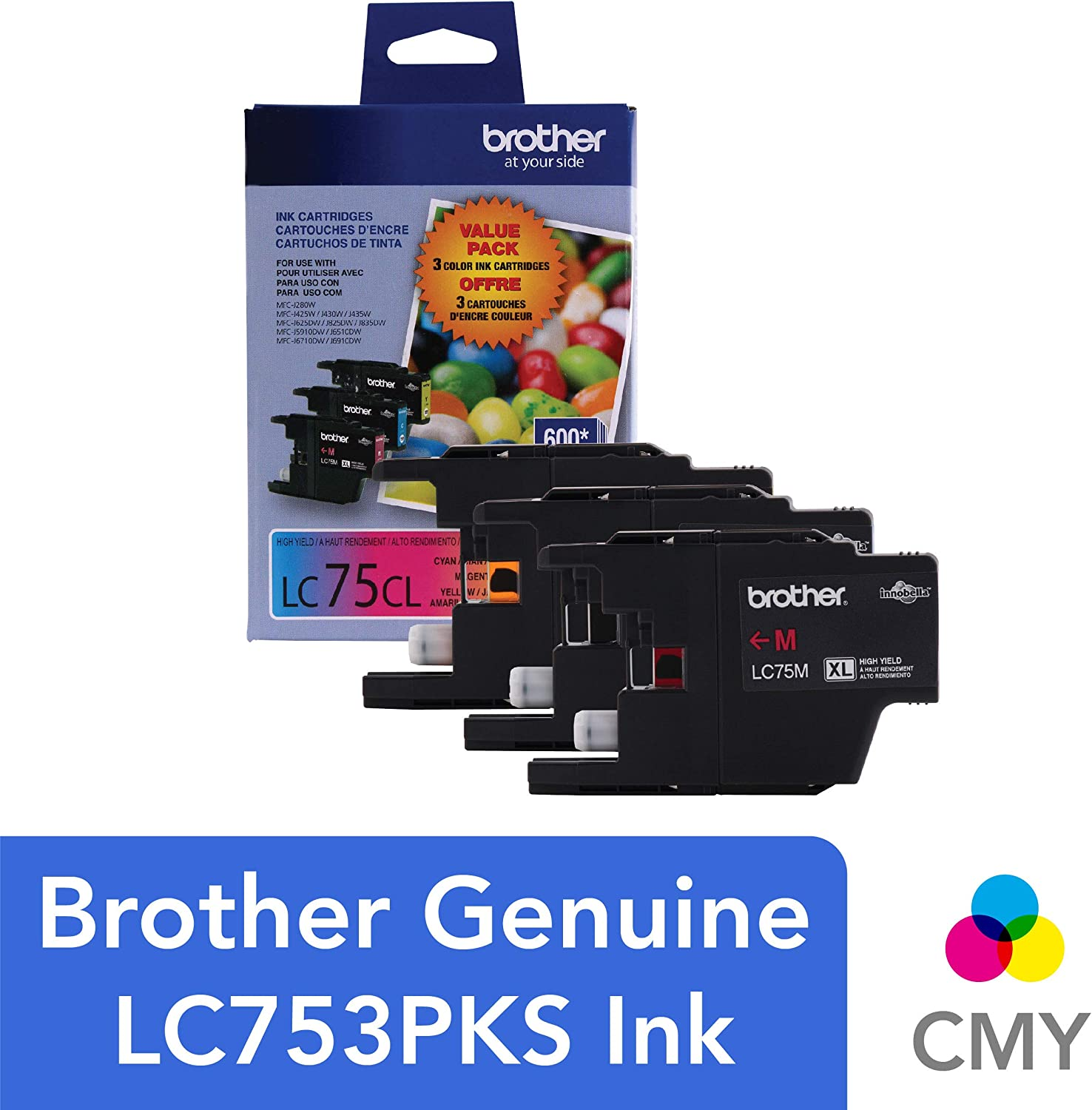 Brother Genuine High Yield Color Ink Cartridge, LC753PKS, Replacement 3 Pack Color Ink, Includes 1 Cartridge Each of Cyan, Magenta & Yellow, Page ...