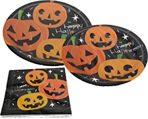 "Set of 32 Person Halloween Party Plate Pack! Halloween Party Plates and Party Napkins! 9"" Plates, 7"" Plates, 13"" Napkins! (8 Person Party Pack)"