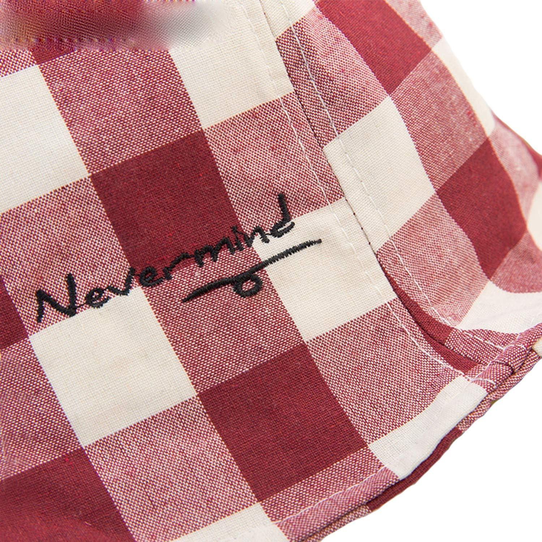 Bucket Hat for Girl Cotton Plaid Red Summer Beach Sun Hat Boys Foldable Letter Classic Children Fishing Cap