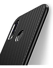 J Jecent Funda Huawei P20 Lite, [Textura Fibra de Carbono] Carcasa Ligera Silicona Suave TPU Gel Bumper Case Cover de Protección Antideslizante [Anti-Rasguño] [ Anti-Golpes] Caso 5.84'' - Negro