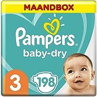Pampers Baby-Dry Maat 3 (6-10kg), 198 Luiers, Tot 12 Uur Bescherming Rondom Tegen Lekken, Maandbox