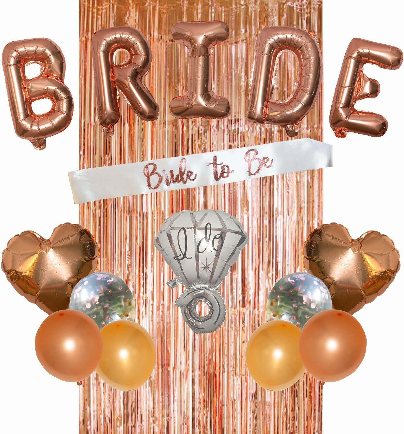 VALKEA Bachelorette Party Decorations Kit - Classy Bachelorette Party Supplies - Cute Bridal Shower Decoration Set with Rose Gold Foil Curtain, Confetti Balloons, Bride to Be Sash & Photo Booth Props