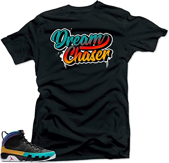SNELOS Shirt Matching Jordan (Jordan 9 Dream it Do it- Dream Chaser Shirt Black) | Amazon.com
