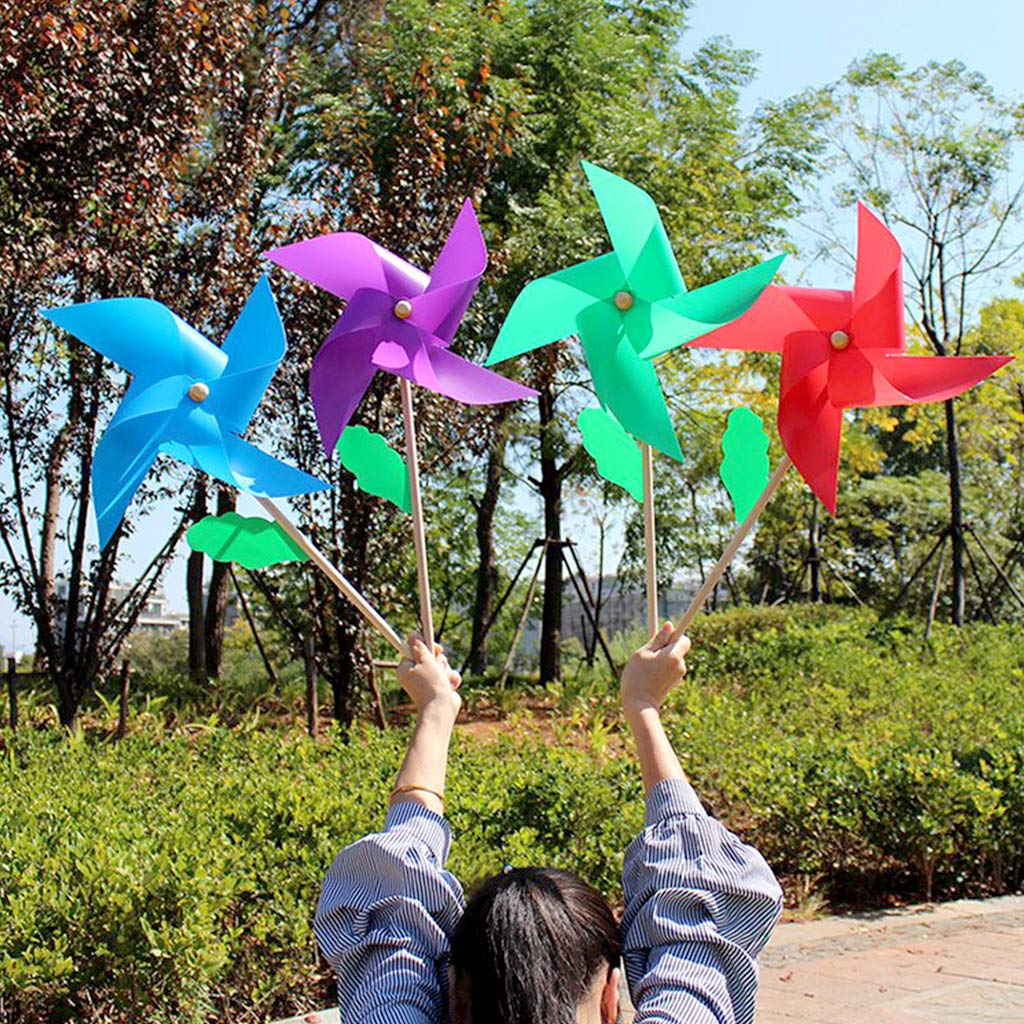 Kids Toy Lawn Garden Yard Party Decor Dchaochao Handmade Windmill Wind Spinner with Wood Handle