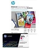 HP 507A Magenta Toner + HP Brochure Paper, Glossy, Laser, 8.5 x 11, 150 sheets, Trifold