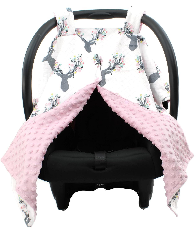 Dear Baby Gear Deluxe Carseat Canopy Cover, Custom Minky Print Girl Antler Flowers, Pink Minky Dot